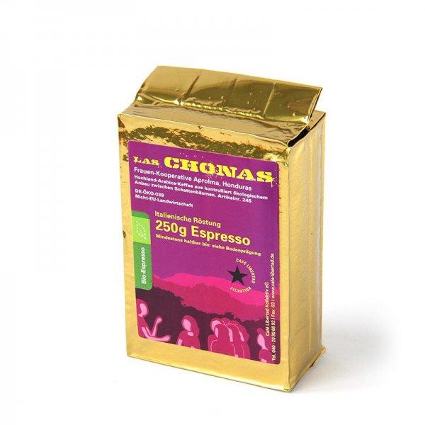 Bio-Espresso Las Chonas, gemahlen-Bio-Espresso gemahlen aus Fairem Handel-Fairer Handel mit Kaffee und Espresso-Faitrade Bio-Kaffee von Frauen aus Honduras