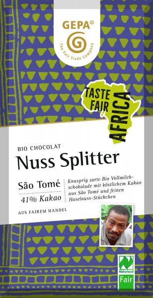 Bio-Schokolade Nuss-Splitter-Bio-Schokolade Nuss Splitter Fair Africa aus Fairem Handel-Fairer Handel mit Kakao und Schokolade aus Afrika-Fairtrade Bio-Schokolade von GEPA Sao Tome