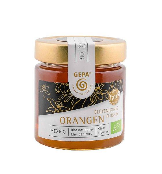 Bio-Honig Orangenblüten, flüssig-Bio-Honig Orangenblueten von GEPA aus Fairem Handel-Fairer Handel mit Honig Spezialitaeten-Fairtrade Bio-Honig von Kleinbauern aus Mexiko