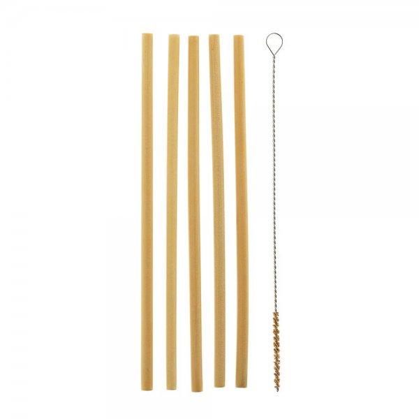 Bambus-Trinkhalme, naturbelassen - 5er Set inkl. Reinigungsbürste-Bambus Trinkhalme aus Fairem Handel von Weltpartner-Plastikfrei nachhaltig leben Ressourcen schonen-Fair Trade Trinkhalme Bambus wiederverwendbar Vietnam