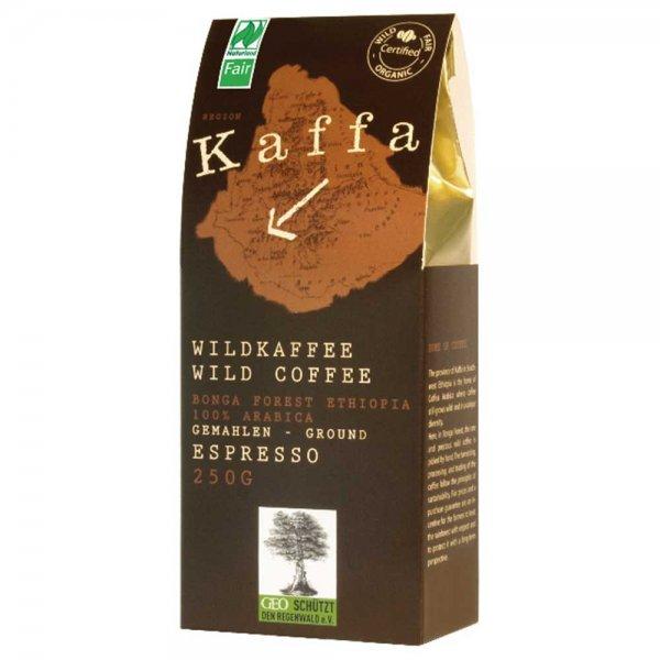 Bio-Wildkaffee Espresso, gemahlen-Bio-Espresso Wildkaffee aus Fairem Handel-Fairer Handel mit Kaffee und Wildkaffee-Fairtrade Bio-Espresso Bio-Kaffee aus dem Bonga Forest in Kaffa Aethiopien