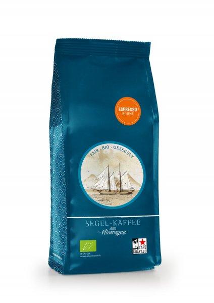 Bio-Segel-Espresso, ganze Bohne-Bio-Espresso Segel-Kaffee aus Fairem Handel von Cafe Chavalo-Fairer Handel mit Kaffee klimaneutral alternativ transportiert-Fairtrade Bio-Segel-Kaffee Espresso von Kleinbauern aus Nicaragua