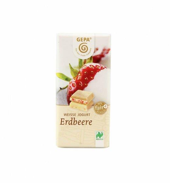 Weisse Bio-Schokolade Joghurt-Erdbeere-Weisse Bio-Schokolade aus Fairem Handel-Fairer Handel mit Schokolade, Zucker und Kakao-Weisse Fairtrade Bio-Schokolade aus Peru und Paraguay