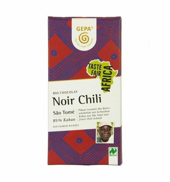 Bio-Schokolade Noir Chili-Bio-Schokolade Noir Chili vegan aus Fairem Handel-Fairer Handel mit Kakao und Schokolade-Fairtrade Bio-Schokolade von GEPA Sao Tome