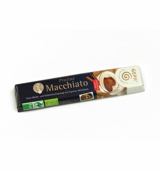 Praliné Bio-Schokoriegel Macchiato-Bio-Schokoriegel Praline aus Fairem Handel-Fairer Handel mit Kakao und Schokolade-Fair Trade Bio-Schokoriegel aus Paraguay und Peru