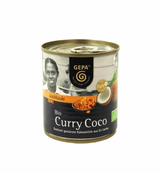 Bio-Kokosmilch Curry Coco-Bio-Kokosmilch mit Curry Gewuerzen aus Fairem Handel-Fairer Handel mit Kokos und Kokosmilch GEPA-Fairtrade Bio-Kokosmilch von Kleinbauern aus Sri Lanka