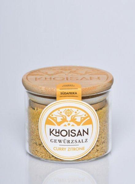 Bio-Gewürzsalz Curry-Zitrone-Bio-Gewuerzsalz Curry-Zitrone naturreines Meersalz von Khoisan-Fairer Handel mit Meersalz und Gewuerzen-Fairtrade Bio-Gewuerzsalz aus Suedafrika